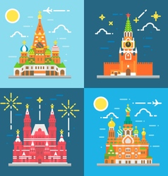 Flat design Russia landmarks set vector image vector image