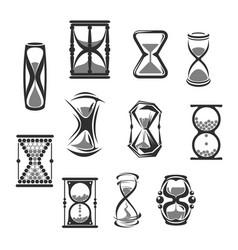 hourglass sandglass sand clock or watch icon set vector image vector image