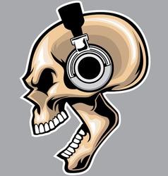 screaming skull wearing headphone vector image
