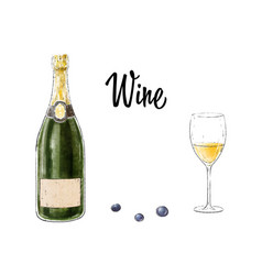 bottle of wine with a glass isolated on white vector image vector image