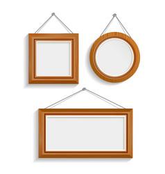 Dark wood isolated frames set vector