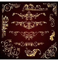 Floral set of golden ornate page decor vector image