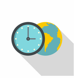 globe and clock icon flat style vector image vector image