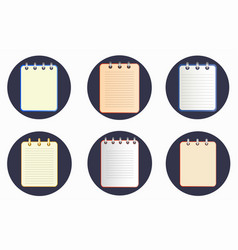 icon of notebook in six variations on the dark vector image vector image