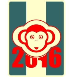 monkey icon and 2016 new year number vector image