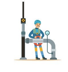 oilman worker on an oil pipeline controlling vector image