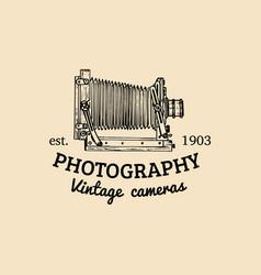 photography logo vintage old camera label vector image