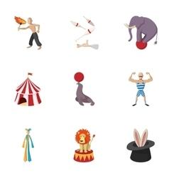 Circus chapiteau icons set cartoon style vector image