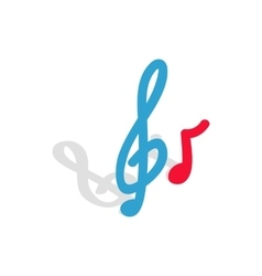 Music key and note icon isometric 3d style vector image