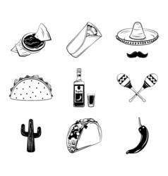 Nachos a burrito sombrero mexican hat and mustache vector