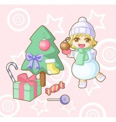 new year snowman Hawaii vector image vector image