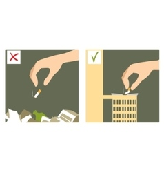 Set with hand throwing cigarette stub vector image