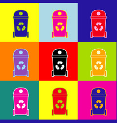 trashcan sign pop-art style vector image