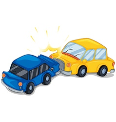Two cars bumping vector image vector image