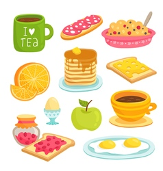 Breakfast icon cartoon set with various products vector image