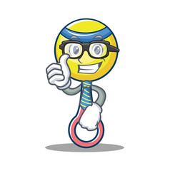 businessman rattle toy character cartoon vector image