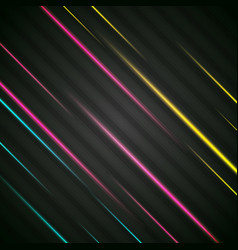 colorful glowing stripes on black background vector image