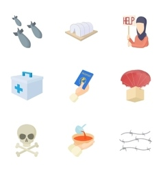 Refugee status icons set cartoon style vector image vector image