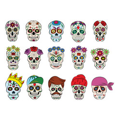 skull mexican flowered dead head and vector image