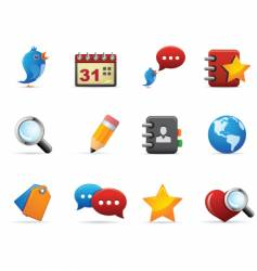 social and media icons vector image vector image