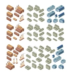 3d buildings set vector