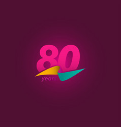 80 years anniversary celebration purple ribbon vector