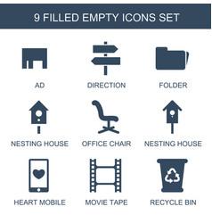 9 empty icons vector
