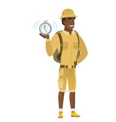 african-american traveler holding alarm clock vector image
