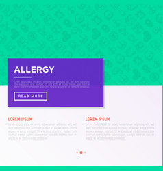 Allergy concept with thin line icons runny nose vector