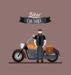 biker culture poster with man and classic vector image