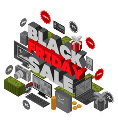 black friday sale concept background isometric vector image