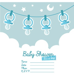 Blue bashower invitation with pacifiers vector