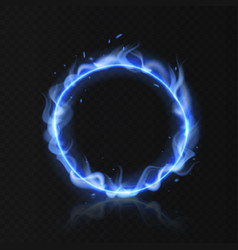 blue fire ring realistic burning circle round vector image
