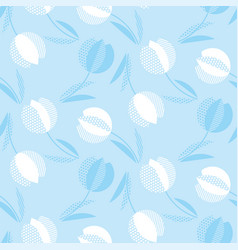 blue holland style tulip flower seamless pattern vector image vector image
