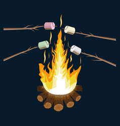 Bonfire with marshmallow logs and fire vector
