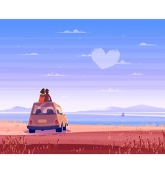 Boy and girl look over the sea Romantic day vector image