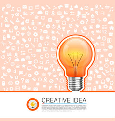 Bulb idea with icons on background vector