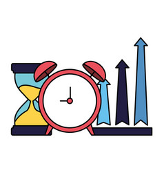 business alarm clock hourglass and arrows up vector image