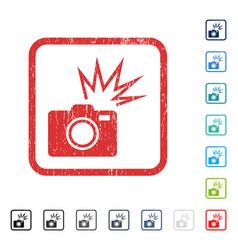 Camera flash icon rubber watermark vector