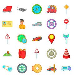 Car parking icons set cartoon style vector