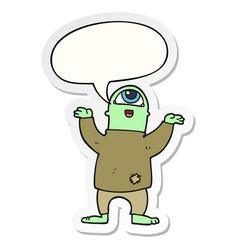 Cartoon halloween monster and speech bubble vector