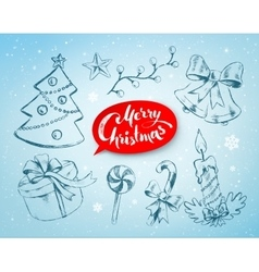 Christmas hand drawn line art vector image