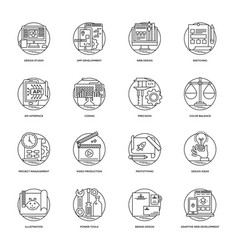 Collection of design and development glyph vector