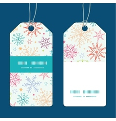 Colorful doodle snowflakes vertical stripe frame vector
