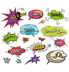 comic speech bubbles and splashes set vector image
