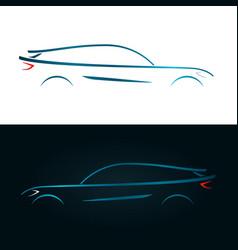 concept design blue car silhouette vector image