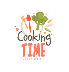 cooking time logo design hand drawn badge can be vector image