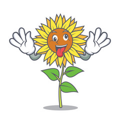 Crazy sunflower mascot cartoon style vector