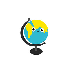cute globe sphere cartoon character isolated on vector image