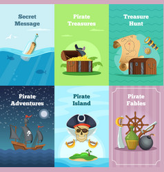 different invitation cards of pirate theme vector image